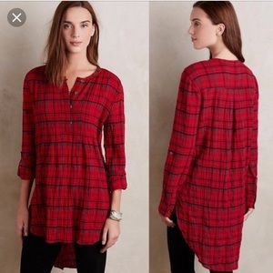 Anthropologie holding horses red plaid tunic top